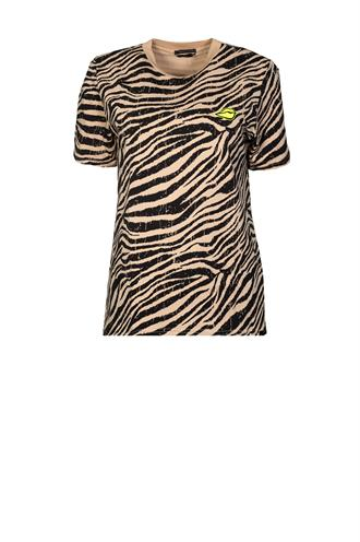 7086 tiger print high neck tee