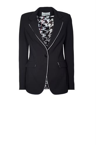 Janice duke black blazer pipping