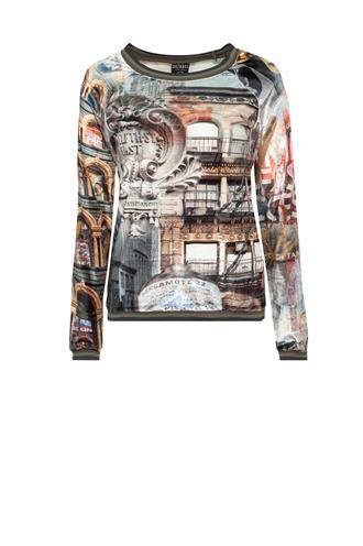 New york print sweater velours